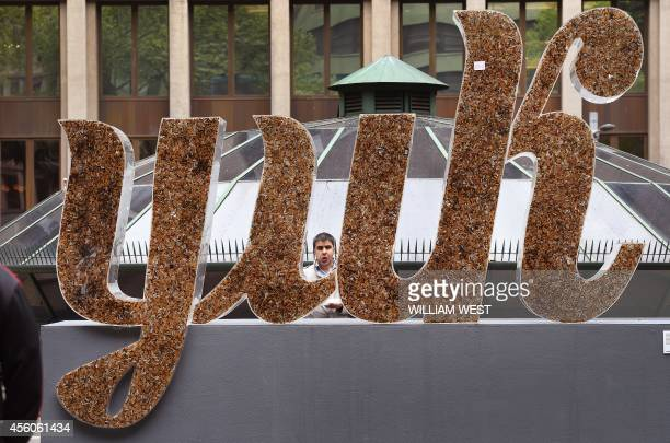 A man inspects a giant sign saying 'yuk' made from cigarette butts in an effort to get smokers to bin their butts in the Sydney central business...