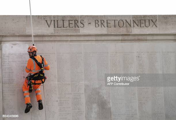 A man is at work near a facade of the Australian National Memorial on September 26 2017 in VillersBretonneux northern France This memorial is the...