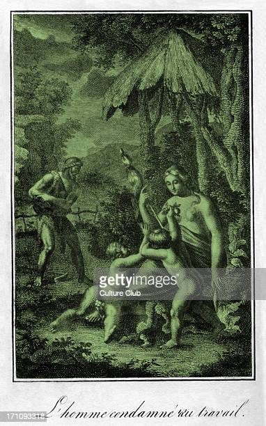 Man is condemned to work having been cast out of the Garden of Eden Adam labours in the background while Eve is occupied with two children Genesis 317