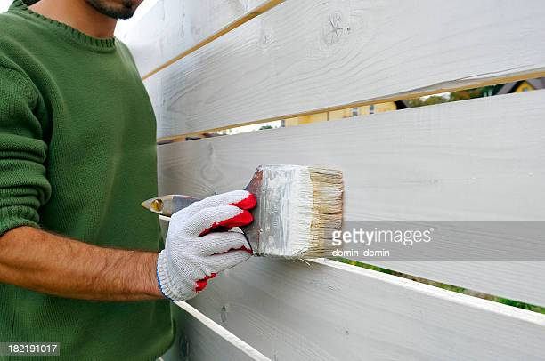 Man is painting with brush wooden fence on white color
