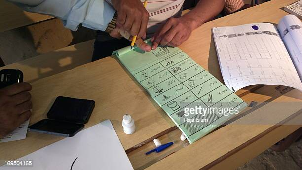 CONTENT] A man is preparing to cast his vote on the day of general election in Pakistan
