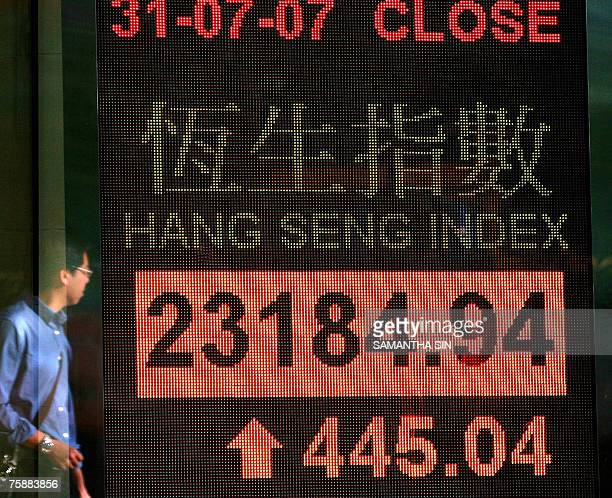 Man is reflected on a digital stock market index screen in Hong Kong, 31 July 2007. Hong Kong share prices closed 1.96 percent higher, extending...