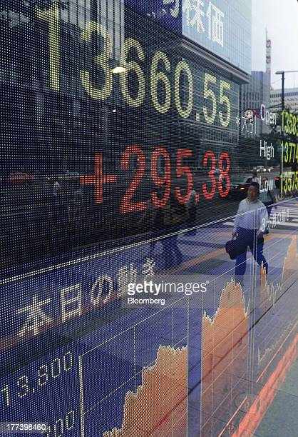 A man is reflected on an electronic monitor displaying the closing figure of the Nikkei 225 Stock Average outside a securities firm in Tokyo Japan on...