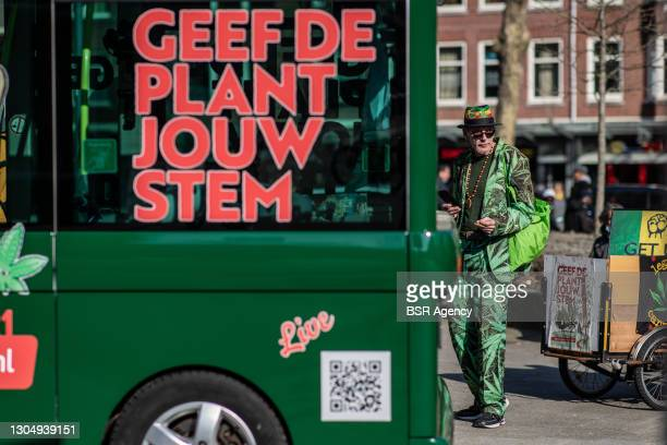 Man is seen at an outing of the Canna-voting-bus of cannabis-stemwijzer.nl on March 2, 2021 in Rotterdam, Netherlands. The bus is meant to help...