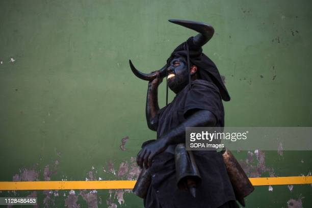 A man is seen dress like a Devil during the Devils of Luzon Carnival Hundreds of people turn out to celebrate the ancient tradition of the Festival...