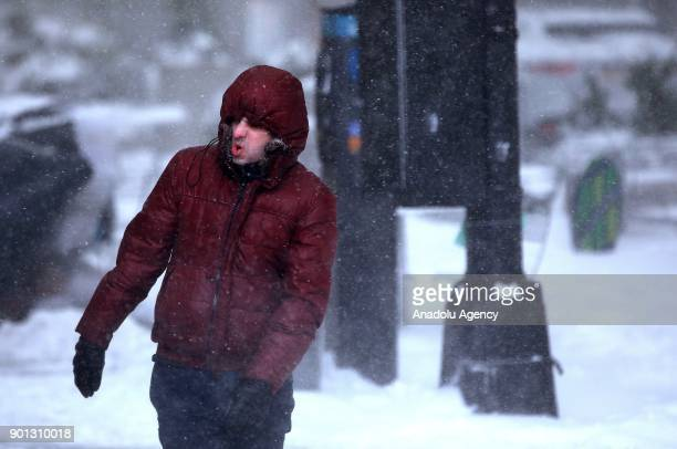 A man is seen during a snowstorm in New York United States on January 04 2018