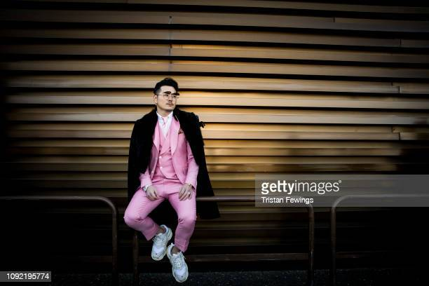A man is seen during the 95th Pitti Uomo at Fortezza Da Basso on January 10 2019 in Florence Italy