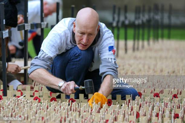 A man is seen planting crosses during the preparations Volunteers from the British Legion prepare the Field of Remembrance at Westminster Abbey in...