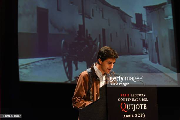 A man is seen reading an El Quijote's book at the XXIII edition of continuous reading of El Quijote at Circulo de Bellas Artes in Madrid during the...