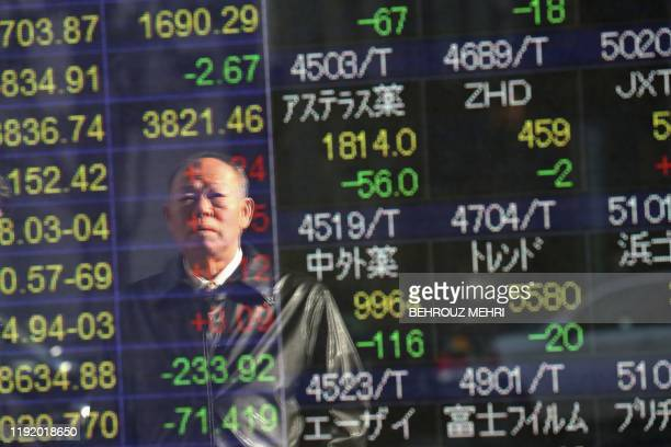 A man is seen reflect as he looks at a stock indicator showing share prices of Japanese companies in Tokyo on January 6 2020 Tokyo's benchmark Nikkei...