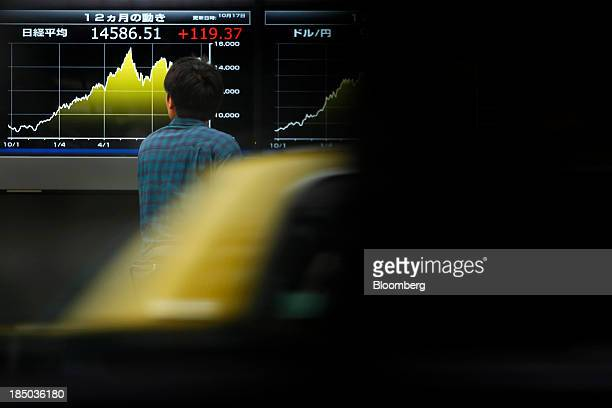 A man is seen through the window of a passing vehicle as he looks at an electronic stock board displaying the closing figure of the Nikkei 225 Stock...