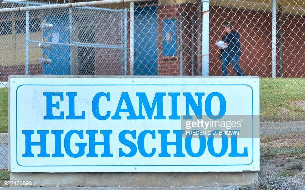 A man is seen walking on the campus of El Camino High School in Whittier California on February 21 2018 where a threat by a student overheard by a...