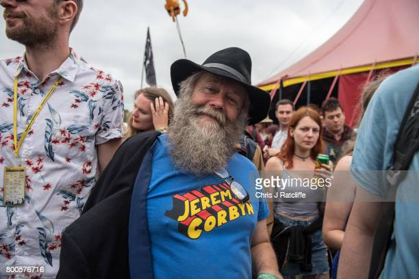 A man is seen wearing a Jeremy Corbyn tshirt as crowds exit the Left Field Stage after watching Labour Party leader Jeremy Corbyn speak at...