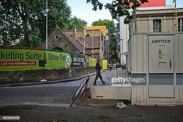 A man is walking close Lea Bridge Road East London