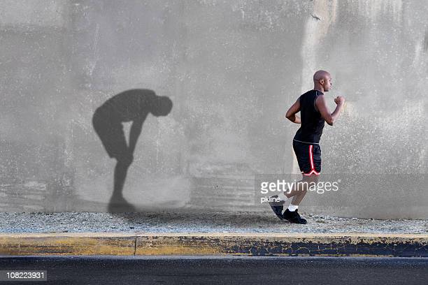 Man Jogging and Tired Shadow