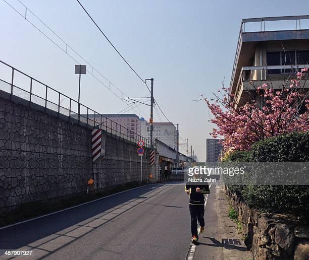 Man jogging downtown