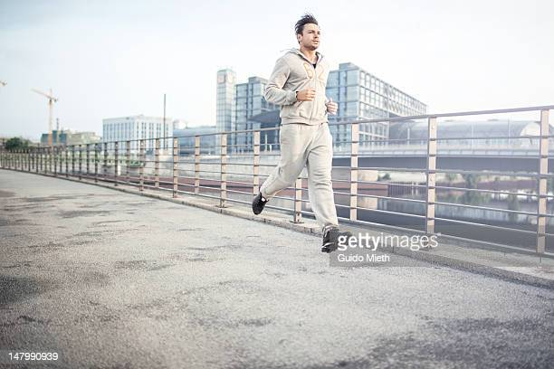 Man jogging in Berlin city.
