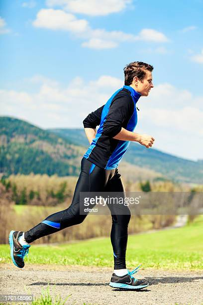 man jogging in mountains - czech republic stock pictures, royalty-free photos & images