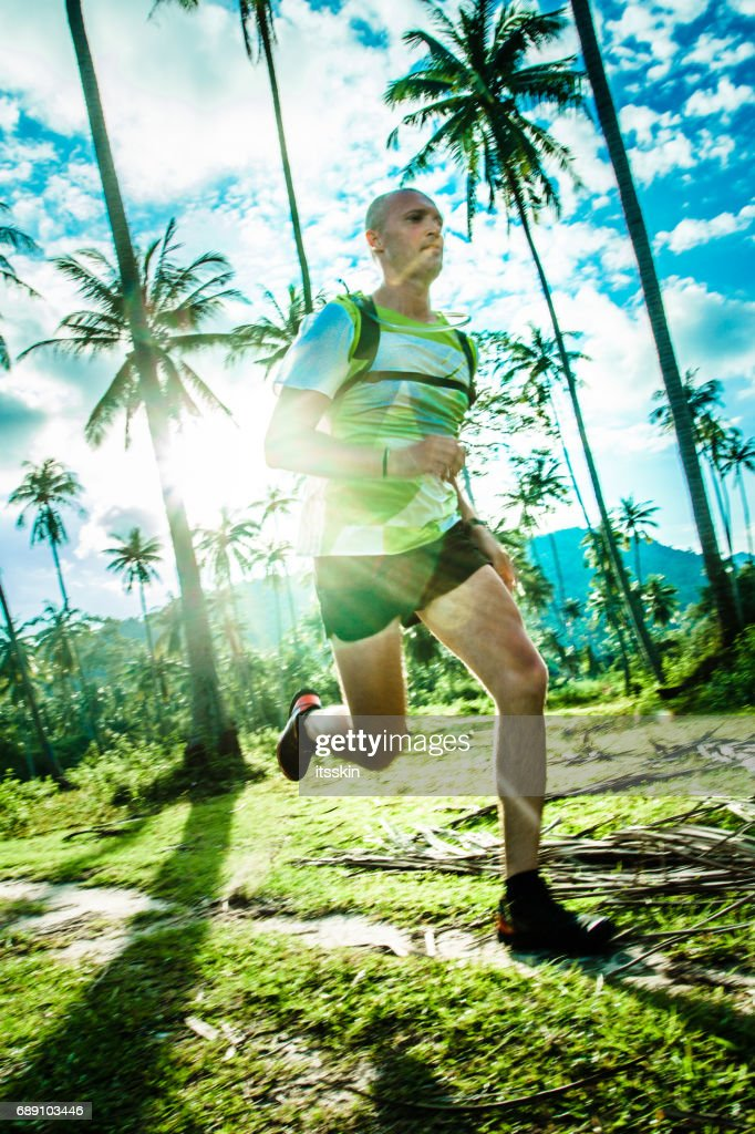 A man jogging in the tropical forrest : Stock Photo