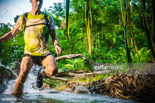 A man jogging in the tropical forrest