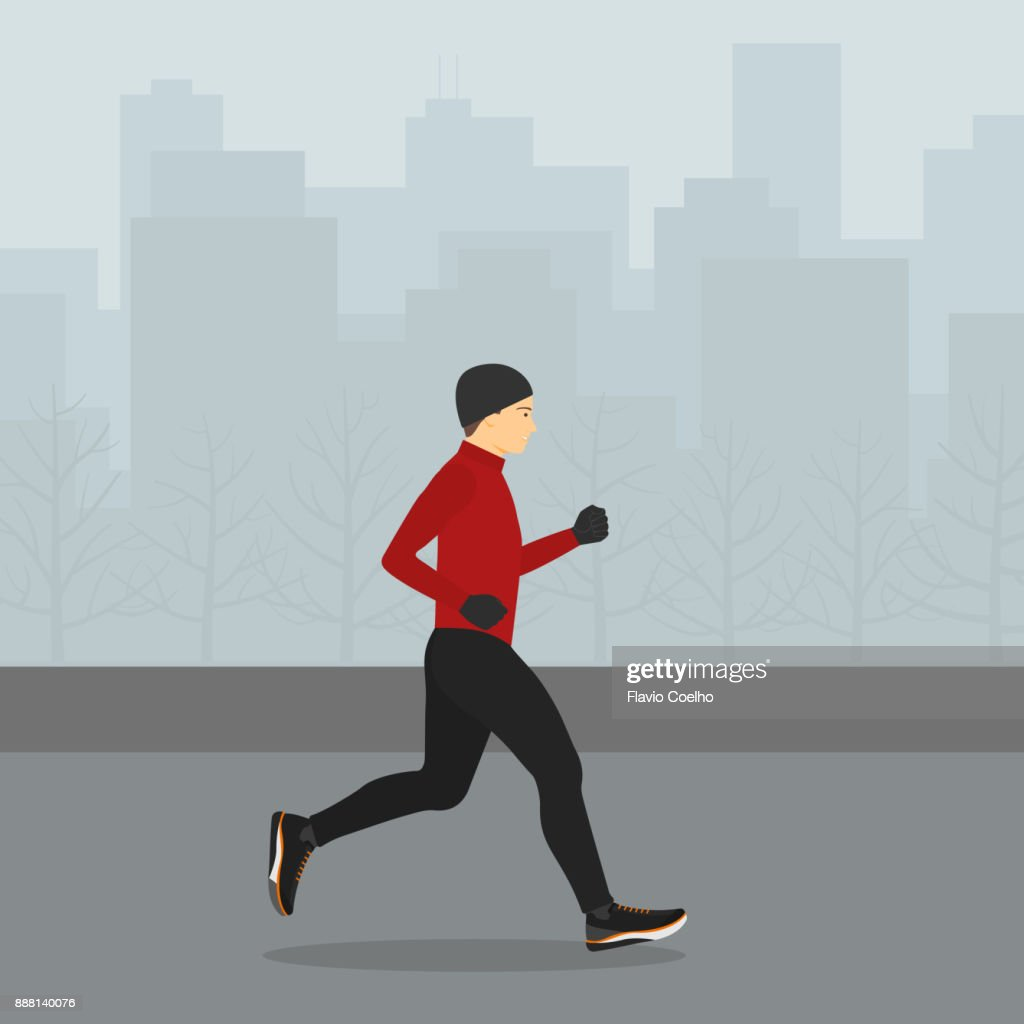 Man jogging in winter with a big city on the background illustration : Stock Photo