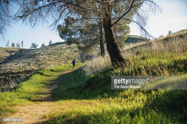 man jogging on footpath in grassy field - grass area stock pictures, royalty-free photos & images