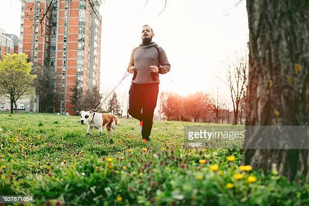 Man Jogging With His Dog.