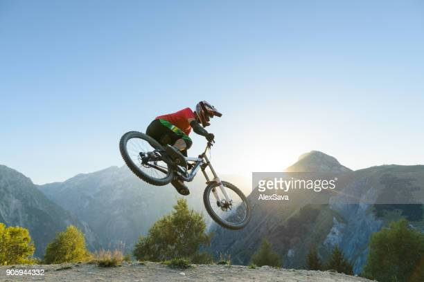 Man jumping in midair with dirt bike