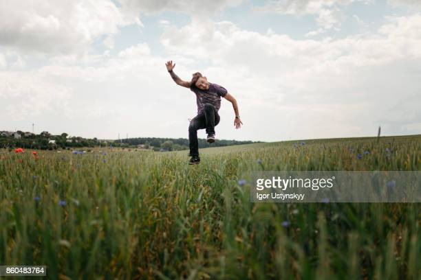 Man jumping in the field