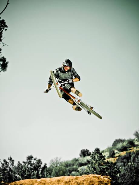 Man Jumping Mountain Bike In Mid-air Wall Art
