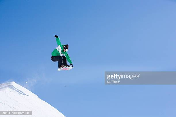 Man jumping on snowboard