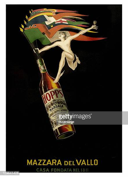 Man jumps out of bottle of Marsala Wine holding multiple flags on a poster that advertises the movie 'Hopp's Marsala' 1923