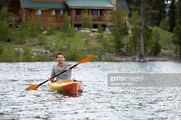 A man kayaking.