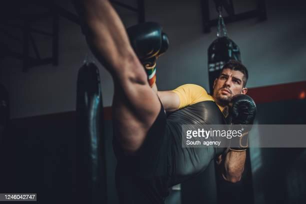 mann kick boxer training allein in der turnhalle - mixed martial arts stock-fotos und bilder