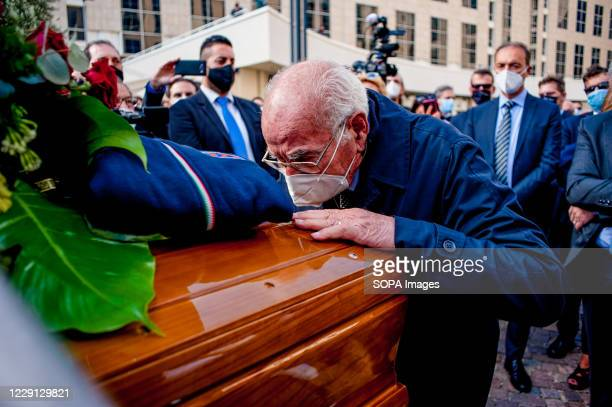 Man kissing the coffin during the funeral. At the Regional Citadel in Catanzaro was the last tribute for Jole Santelli, Governor of Calabria since...