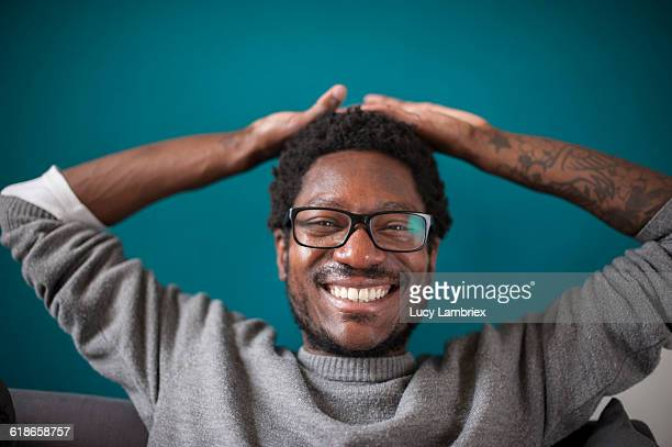 man laughing radiantly - most handsome black men stock photos and pictures