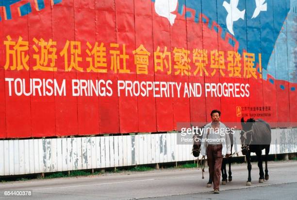 A man leads two ponies past a huge advertising billboard hoping to promote tourism in China just a few days after Communist Government troops...