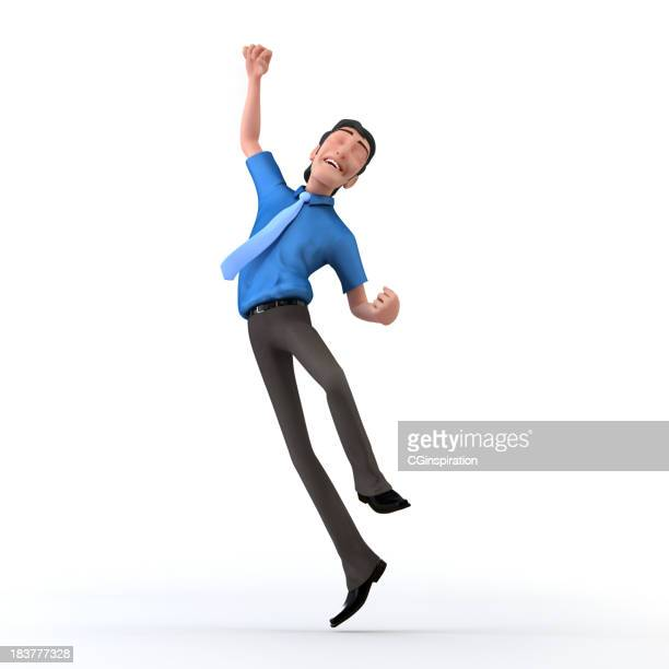 Man leaping in the air with success