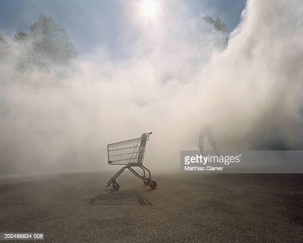 Man leaping near shopping cart in smoke