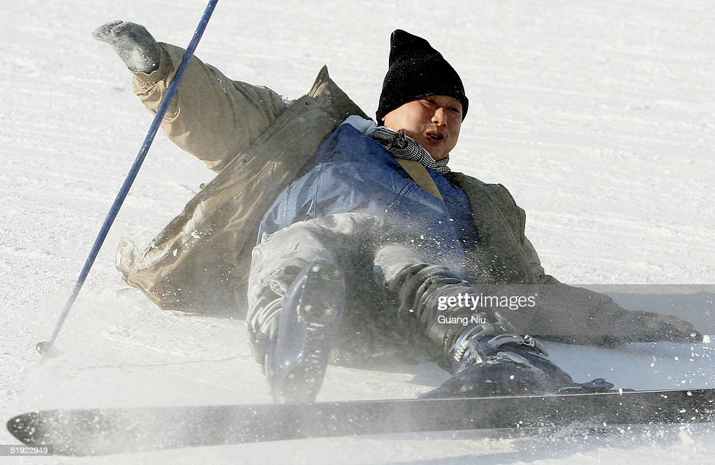 A man learns to ski at a skiing resort on January 7, 2005 in Harbin, China. Local authorities are preparing to bid for the 2014 Winter Olympic Games despite losing the bid to host the 2010 winter games.