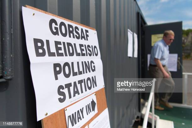 A man leaves a polling station in Pantmawr on May 23 2019 in Cardiff United Kingdom Polls are open for the European Parliament elections Voters will...