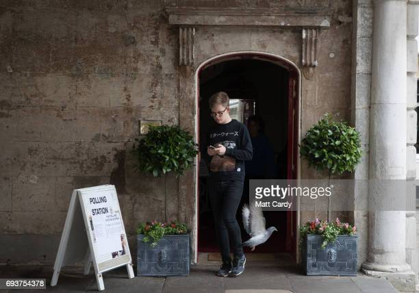A man leaves a polling station in the Windsor Guildhall on June 8 2017 in Windsor United KingdomPolling stations have opened as the nation votes to...