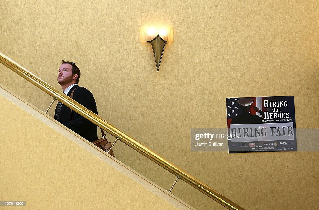 A man leaves the 'Hiring Our Heroes' job fair on April 30, 2013 in Walnut Creek, California. Seventy-five active duty members of the military and veterans registered to attend the 'Hiring Our Heroes' job fair hosted by the U.S. Department of Commerce. Hundreds of 'Hiring Our Heroes' events are being held across the country in 2013 in the hopes of having a half million military veterans employed by the end of 2014.