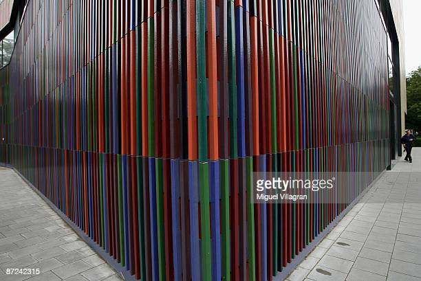 A man leaves the new museum Brandhorst which was built by Sauerbruch Hutton architects on May 15 2009 in Munich The museum which shows works from the...