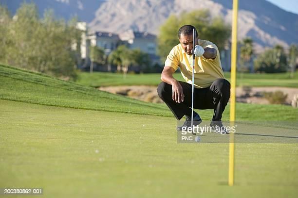 man lining up putt on golf course - green de golfe - fotografias e filmes do acervo