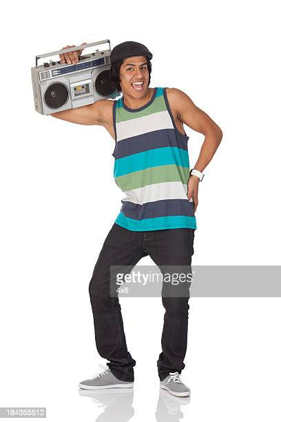 Man listening to a boombox