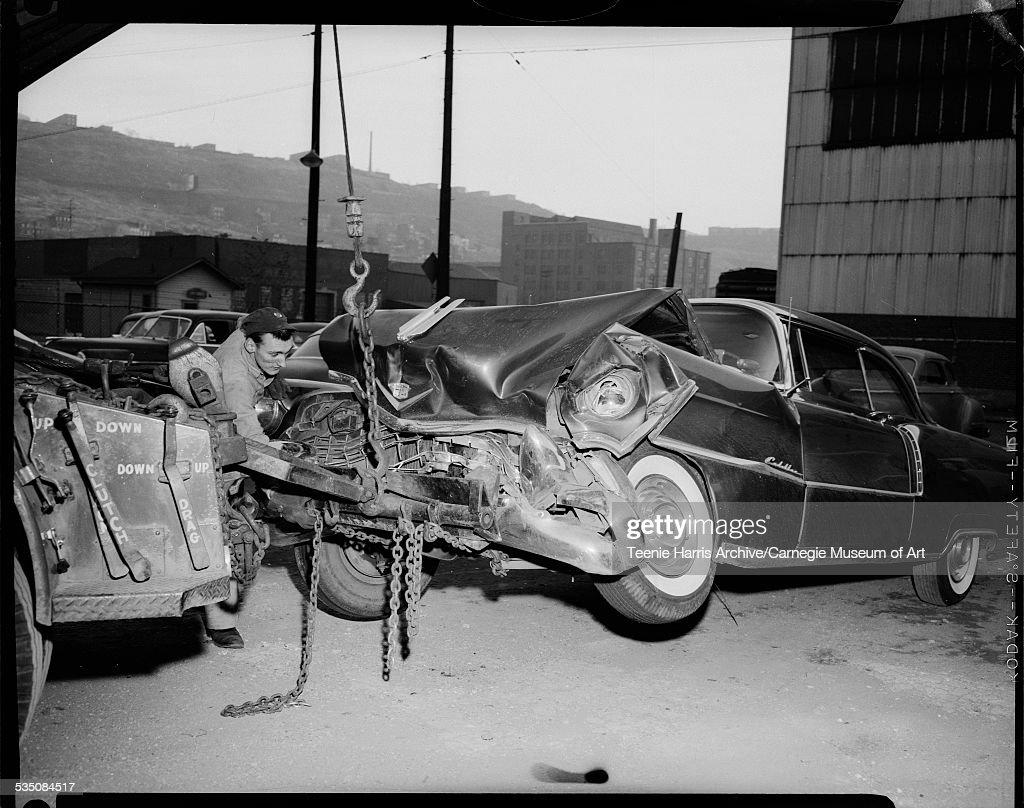 Harper's Wrecked Cadillac : News Photo