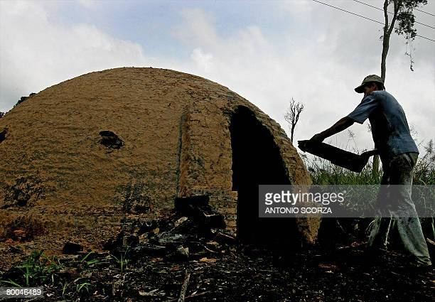 A man loads an oven with wood to produce charcoal in the outskirts of Tailandia Para northen Brazil on February 27 2008 The Brazilian government...