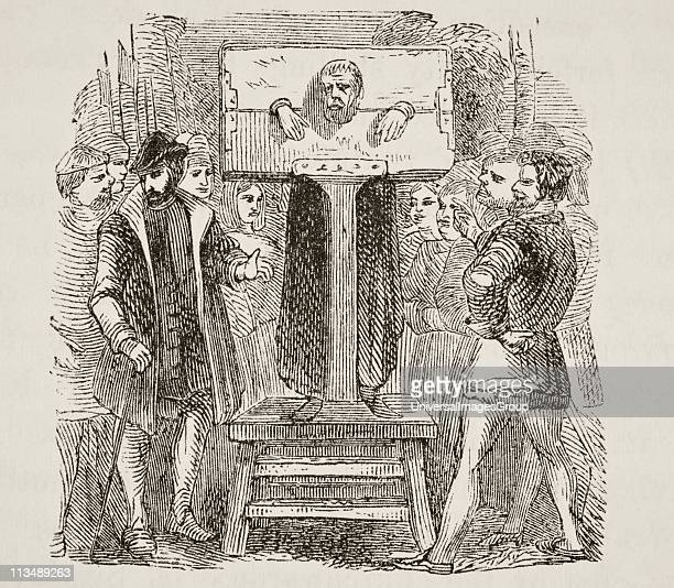 Man locked in a pillory. From The National and Domestic History of England by William Aubrey published London circa 1890