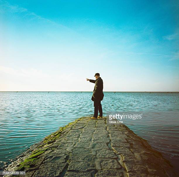Man looking and pointing at sea, side view